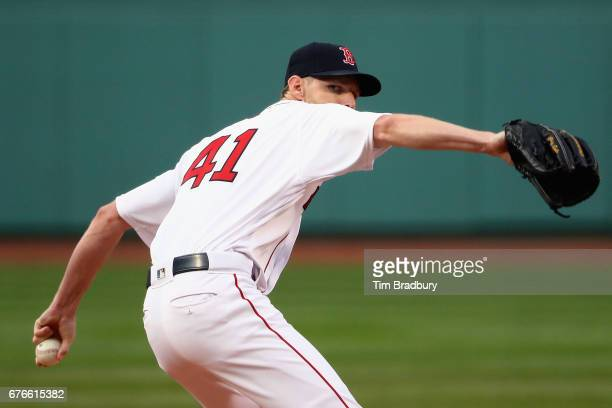 Chris Sale of the Boston Red Sox throws a pitch during the first inning against the Baltimore Orioles at Fenway Park on May 2 2017 in Boston...