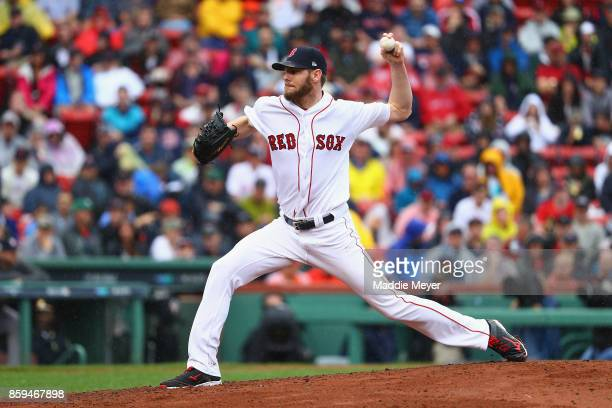 Chris Sale of the Boston Red Sox throws a pitch in the fifth inning against the Houston Astros during game four of the American League Division...
