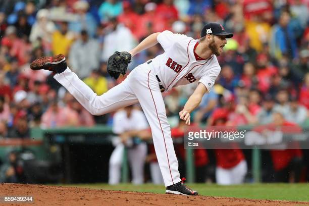 Chris Sale of the Boston Red Sox throws a pitch in the fourth inning against the Houston Astros during game four of the American League Division...