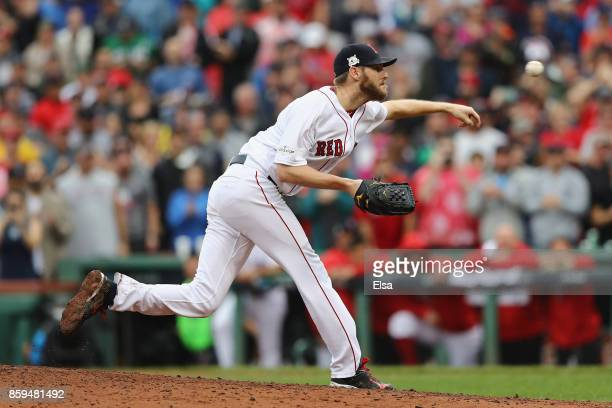 Chris Sale of the Boston Red Sox throws a pitch in the sixth inning against the Houston Astros during game four of the American League Division...