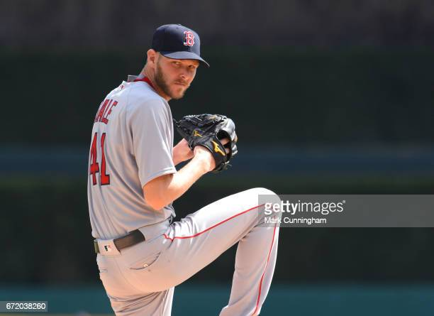 Chris Sale of the Boston Red Sox throws a warmup pitch during the game against the Detroit Tigers at Comerica Park on April 10 2017 in Detroit...