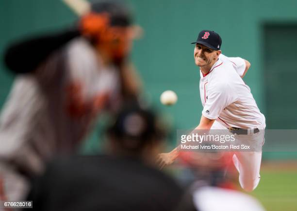 Chris Sale of the Boston Red Sox throws an inside pitch to Manny Machado of the Baltimore Orioles in the first inning at Fenway Park on May 2 2017 in...