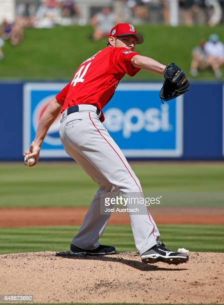 Chris Sale of the Boston Red Sox throws the ball against the Houston Astros in the first inning during a spring training game at The Ballpark of the...