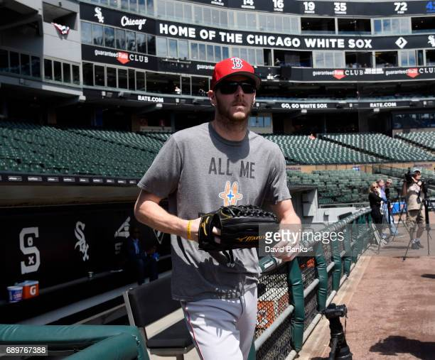 Chris Sale of the Boston Red Sox walks out of the dugout to warm up before the game against the Chicago White Sox on May 29 2017 at Guaranteed Rate...