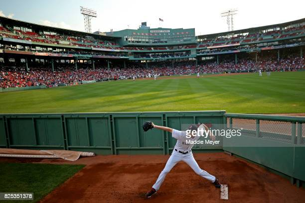 Chris Sale of the Boston Red Sox warms up in the bullpen before the game between the Boston Red Sox and the Cleveland Indians at Fenway Park on...