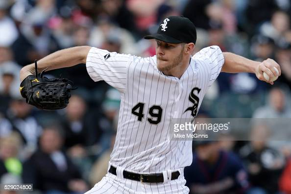 Chris Sale of the Chicago White Six pitches during the first inning against the Minnesota Twins at US Cellular Field on May 07 2016 in Chicago...