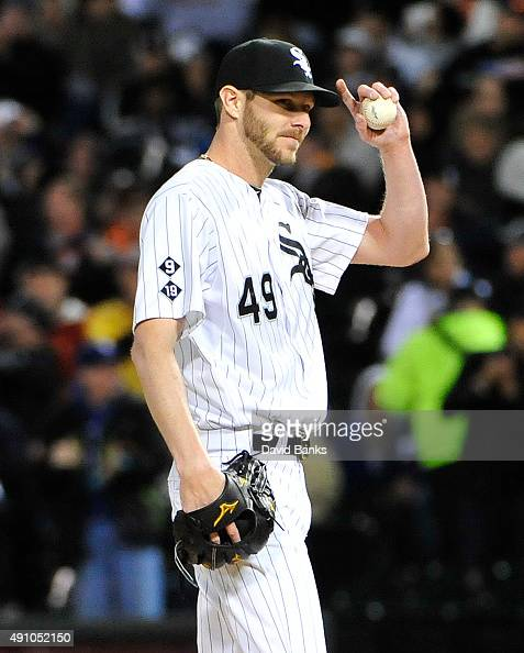 Chris Sale of the Chicago White Sox acknowledges the crowd after striking out James McCann of the Detroit Tigers to get his 270th strikeout of the...