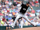 Chris Sale of the Chicago White Sox delivers a pitch against the Minnesota Twins during the second inning of the game on June 24 2015 at Target Field...