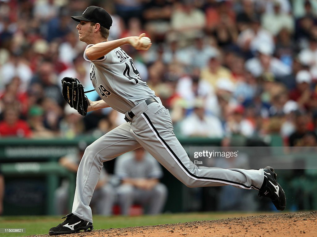 <a gi-track='captionPersonalityLinkClicked' href=/galleries/search?phrase=Chris+Sale&family=editorial&specificpeople=7132181 ng-click='$event.stopPropagation()'>Chris Sale</a> #49 of the Chicago White Sox delivers a pitch against the Boston Red Sox on June 1, 2011 at Fenway Park in Boston, Massachusetts.