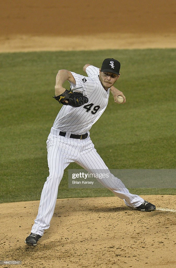 <a gi-track='captionPersonalityLinkClicked' href=/galleries/search?phrase=Chris+Sale&family=editorial&specificpeople=7132181 ng-click='$event.stopPropagation()'>Chris Sale</a> #49 of the Chicago White Sox delivers during the second inning against the Cleveland Indians at U.S. Cellular Field on April 11, 2014 in Chicago, Illinois.