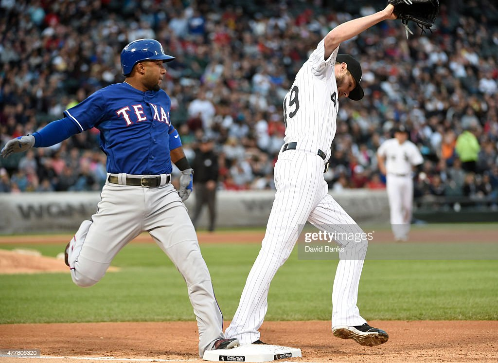 <a gi-track='captionPersonalityLinkClicked' href=/galleries/search?phrase=Chris+Sale&family=editorial&specificpeople=7132181 ng-click='$event.stopPropagation()'>Chris Sale</a> #49 of the Chicago White Sox forces out <a gi-track='captionPersonalityLinkClicked' href=/galleries/search?phrase=Elvis+Andrus&family=editorial&specificpeople=4845974 ng-click='$event.stopPropagation()'>Elvis Andrus</a> #1 of the Texas Rangers during the third inning on June 19, 2015 at U. S. Cellular Field in Chicago, Illinois.