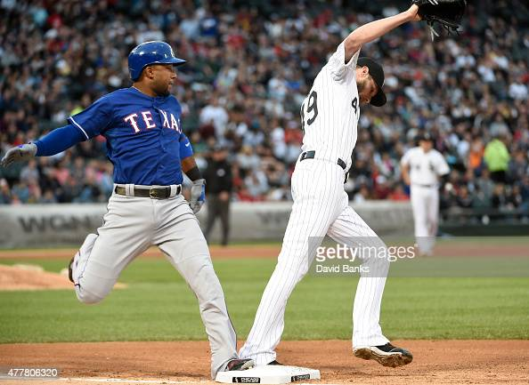 Chris Sale of the Chicago White Sox forces out Elvis Andrus of the Texas Rangers during the third inning on June 19 2015 at U S Cellular Field in...
