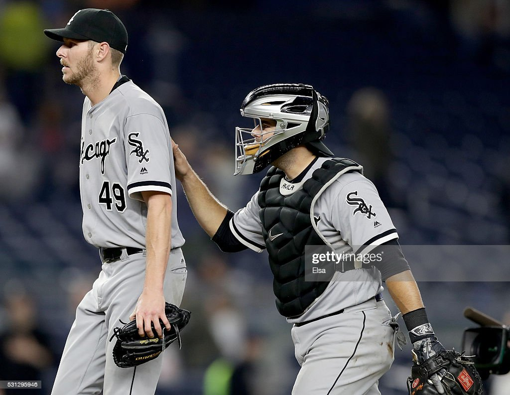 <a gi-track='captionPersonalityLinkClicked' href=/galleries/search?phrase=Chris+Sale&family=editorial&specificpeople=7132181 ng-click='$event.stopPropagation()'>Chris Sale</a> #49 of the Chicago White Sox is congratulated by teammate <a gi-track='captionPersonalityLinkClicked' href=/galleries/search?phrase=Alex+Avila&family=editorial&specificpeople=5749211 ng-click='$event.stopPropagation()'>Alex Avila</a> #31 after the win against the New York Yankees at Yankee Stadium on May 13, 2016 in the Bronx borough of New York City.The Chicago White Sox defeated the New York Yankees 7-1.Sale pitched a complete game.