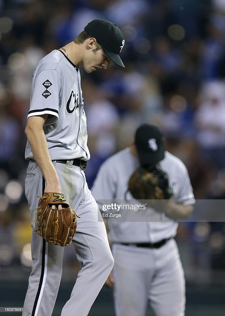 <a gi-track='captionPersonalityLinkClicked' href=/galleries/search?phrase=Chris+Sale&family=editorial&specificpeople=7132181 ng-click='$event.stopPropagation()'>Chris Sale</a> #49 of the Chicago White Sox looks down at the ground after giving up a two-run double to <a gi-track='captionPersonalityLinkClicked' href=/galleries/search?phrase=Alex+Gordon+-+Baseball+Player&family=editorial&specificpeople=4494252 ng-click='$event.stopPropagation()'>Alex Gordon</a> of the Kansas City Royals in the seventh inning at Kauffman Stadium on September 19, 2012 in Kansas City, Missouri.