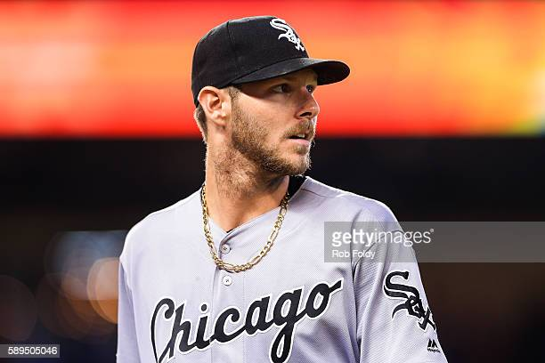 Chris Sale of the Chicago White Sox looks on during the game against the Miami Marlins at Marlins Park on August 14 2016 in Miami Florida