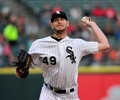 Chris Sale of the Chicago White Sox pitches against the Baltimore Orioles during the first inning on August 18 2014 at U S Cellular Field in Chicago...