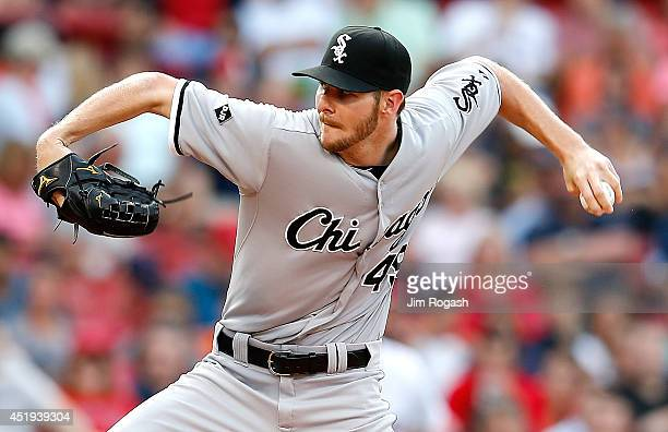 Chris Sale of the Chicago White Sox pitches against the Boston Red Sox in the first inning at Fenway Park on July 9 2014 in Boston Massachusetts