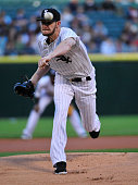Chris Sale of the Chicago White Sox pitches against the Cleveland Indians during the first inning on May 18 2015 at U S Cellular Field in Chicago...