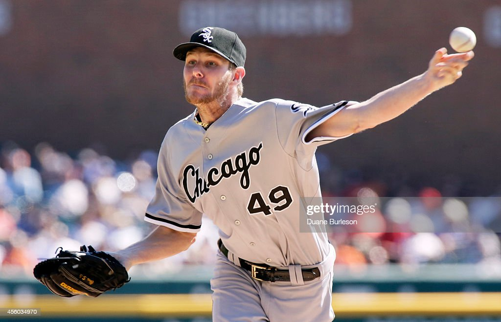 <a gi-track='captionPersonalityLinkClicked' href=/galleries/search?phrase=Chris+Sale&family=editorial&specificpeople=7132181 ng-click='$event.stopPropagation()'>Chris Sale</a> #49 of the Chicago White Sox pitches against the Detroit Tigers during the first inning at Comerica Park on September 24, 2014, in Detroit, Michigan.