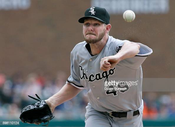 Chris Sale of the Chicago White Sox pitches against the Detroit Tigers during the second inning at Comerica Park on August 31 2016 in Detroit Michigan