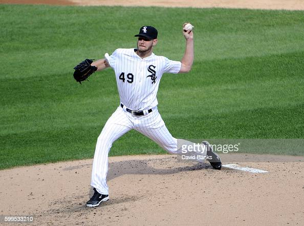 Chris Sale of the Chicago White Sox pitches against the Detroit Tigers during the third inning on September 5 2016 at U S Cellular Field in Chicago...