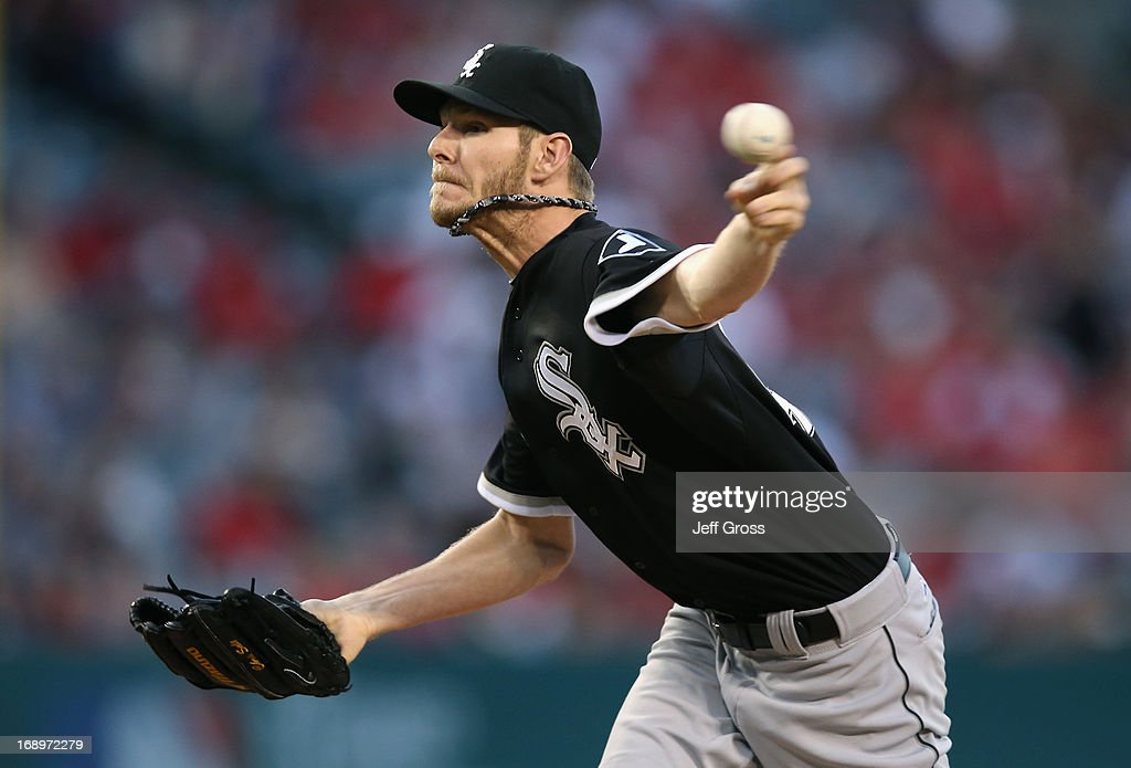 <a gi-track='captionPersonalityLinkClicked' href=/galleries/search?phrase=Chris+Sale&family=editorial&specificpeople=7132181 ng-click='$event.stopPropagation()'>Chris Sale</a> #49 of the Chicago White Sox pitches against the Los Angeles Angels of Anaheim in the first inning at Angel Stadium of Anaheim on May 17, 2013 in Anaheim, California.