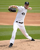 Chris Sale of the Chicago White Sox pitches against the Los Angeles Angels of Anaheim on April 20 2016 at US Cellular Field in Chicago Illinois The...