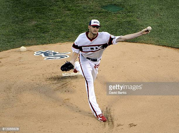 Chris Sale of the Chicago White Sox pitches against the Minnesota Twins during the first inning on October 2 2016 at U S Cellular Field in Chicago...