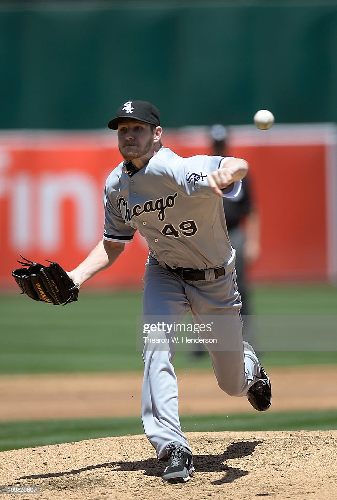 <a gi-track='captionPersonalityLinkClicked' href=/galleries/search?phrase=Chris+Sale&family=editorial&specificpeople=7132181 ng-click='$event.stopPropagation()'>Chris Sale</a> #49 of the Chicago White Sox pitches against the Oakland Athletics at O.co Coliseum on June 2, 2013 in Oakland, California.