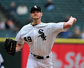 Chris Sale of the Chicago White Sox pitches against the Oakland Athletics during the first inning on September 11 2014 at US Cellular Field in...