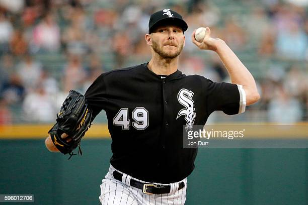 Chris Sale of the Chicago White Sox pitches against the Seattle Mariners during the first inning at US Cellular Field on August 26 2016 in Chicago...