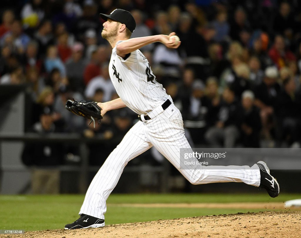 Chris Sale #49 of the Chicago White Sox pitches against the Texas Rangers during the eighth inning on June 19, 2015 at U. S. Cellular Field in Chicago, Illinois. The Rangers defeated the White Sox 2-1.