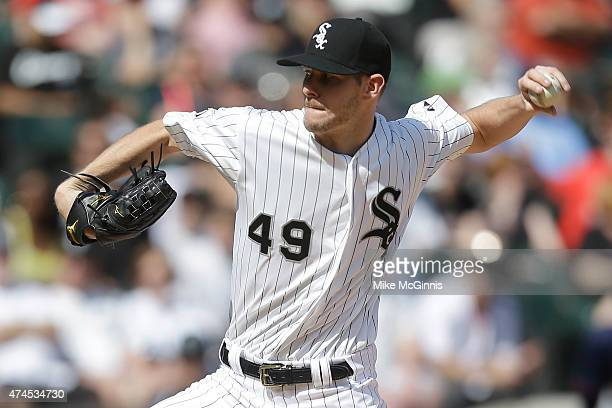 Chris Sale of the Chicago White Sox pitches during the first inning against the Minnesota Twins at US Cellular Field on May 23 2015 in Chicago...