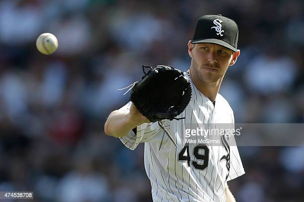 Chris Sale of the Chicago White Sox pitches during the third inning against the Minnesota Twins at US Cellular Field on May 23 2015 in Chicago...