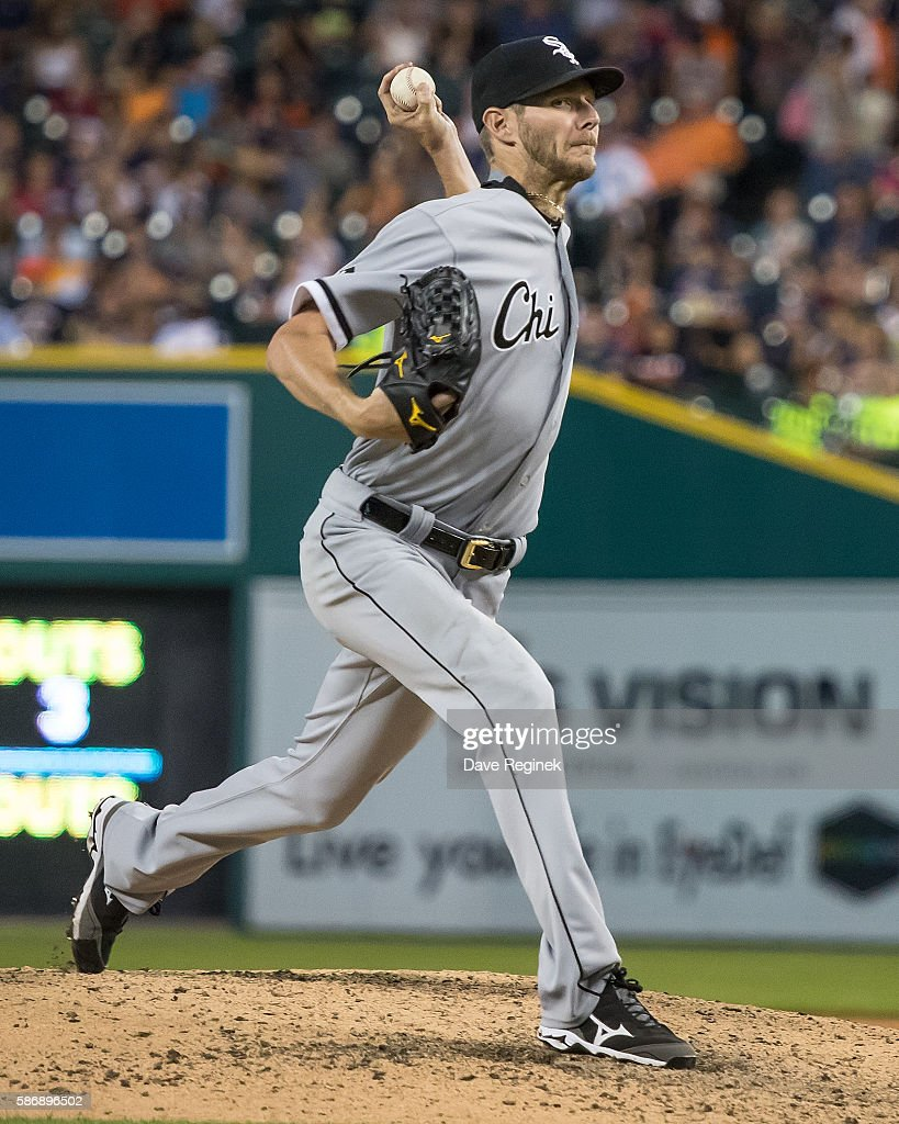 Chris Sale of the Chicago White Sox pitches in the seventh inning during a MLB game against the Detroit Tigers at Comerica Park on August 3 2016 in...