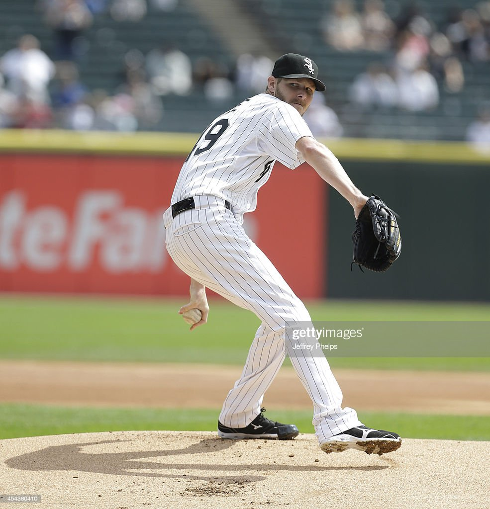 Chris Sale of the Chicago White Sox pitches to the Detroit Tigers in the first inning at US Cellular Field on August 30 2014 in Chicago Illinois