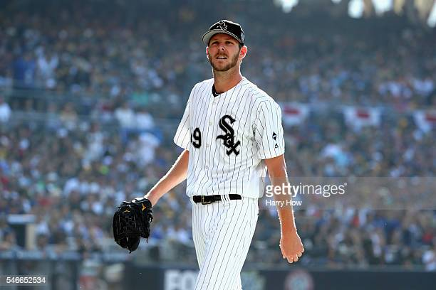 Chris Sale of the Chicago White Sox reacts during the 87th Annual MLB AllStar Game at PETCO Park on July 12 2016 in San Diego California