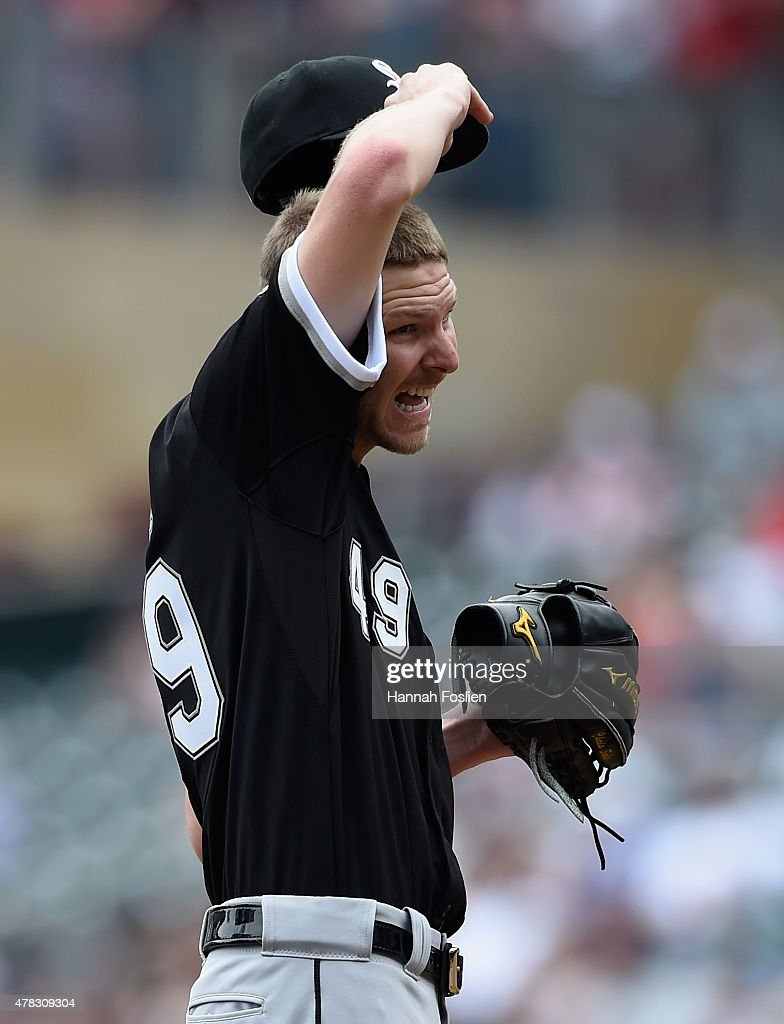 <a gi-track='captionPersonalityLinkClicked' href=/galleries/search?phrase=Chris+Sale&family=editorial&specificpeople=7132181 ng-click='$event.stopPropagation()'>Chris Sale</a> #49 of the Chicago White Sox reacts during the fourth inning of the game against the Minnesota Twins on June 24, 2015 at Target Field in Minneapolis, Minnesota. The Twins defeated the White Sox 6-1.