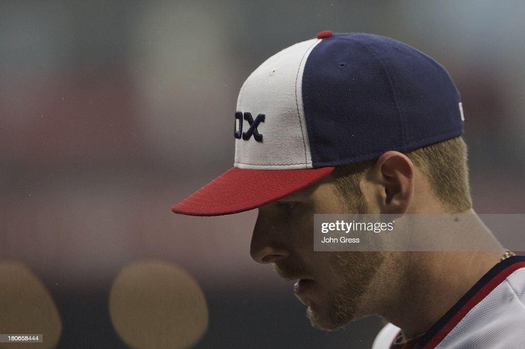 <a gi-track='captionPersonalityLinkClicked' href=/galleries/search?phrase=Chris+Sale&family=editorial&specificpeople=7132181 ng-click='$event.stopPropagation()'>Chris Sale</a> #49 of the Chicago White Sox reacts while playing the Cleveland Indians during in the first inning of their MLB game at U.S. Cellular Field on September 15, 2013 in Chicago, Illinois.