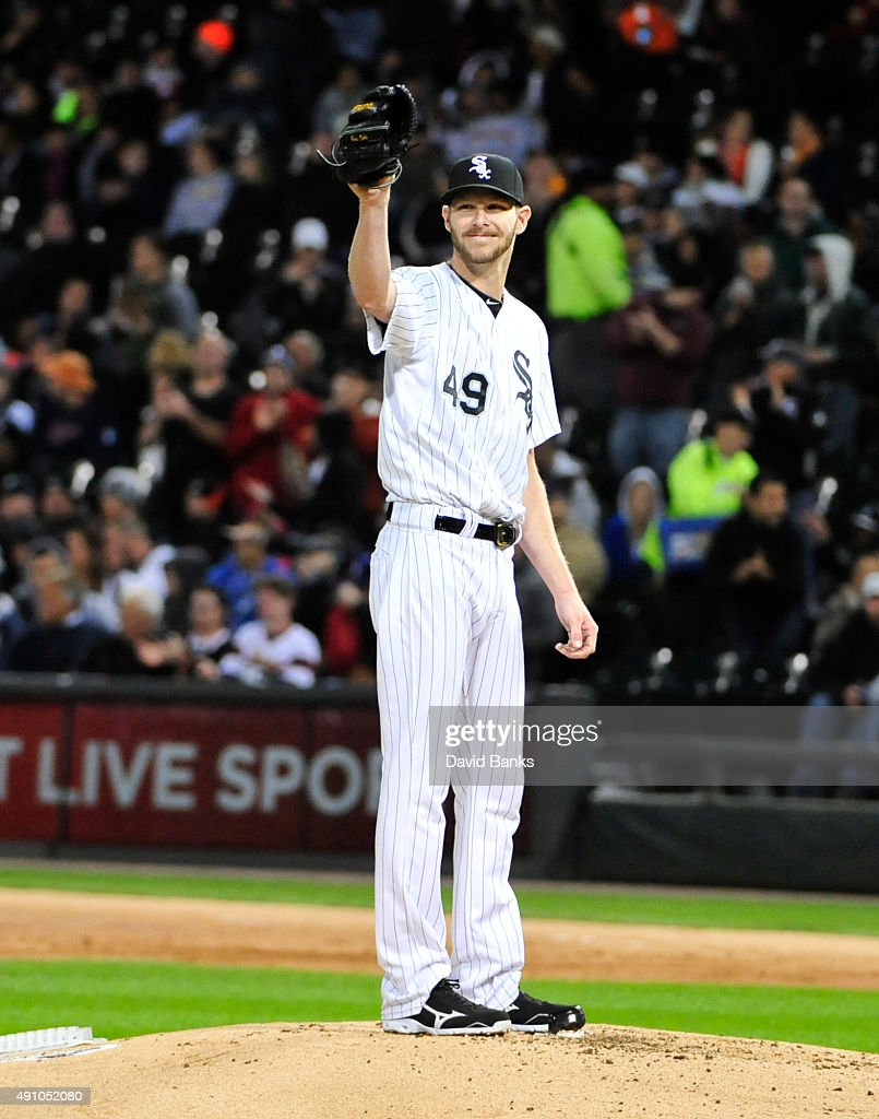 <a gi-track='captionPersonalityLinkClicked' href=/galleries/search?phrase=Chris+Sale&family=editorial&specificpeople=7132181 ng-click='$event.stopPropagation()'>Chris Sale</a> #49 of the Chicago White Sox smiles after striking out James McCann #34 of the Detroit Tigers to get his 270th strikeout of the season to set the franchise record for strikeouts during the second inning on October 2, 2015 at U.S. Cellular Field in Chicago, Illinois.