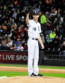 Chris Sale of the Chicago White Sox smiles after striking out James McCann of the Detroit Tigers to get his 270th strikeout of the season to set the...
