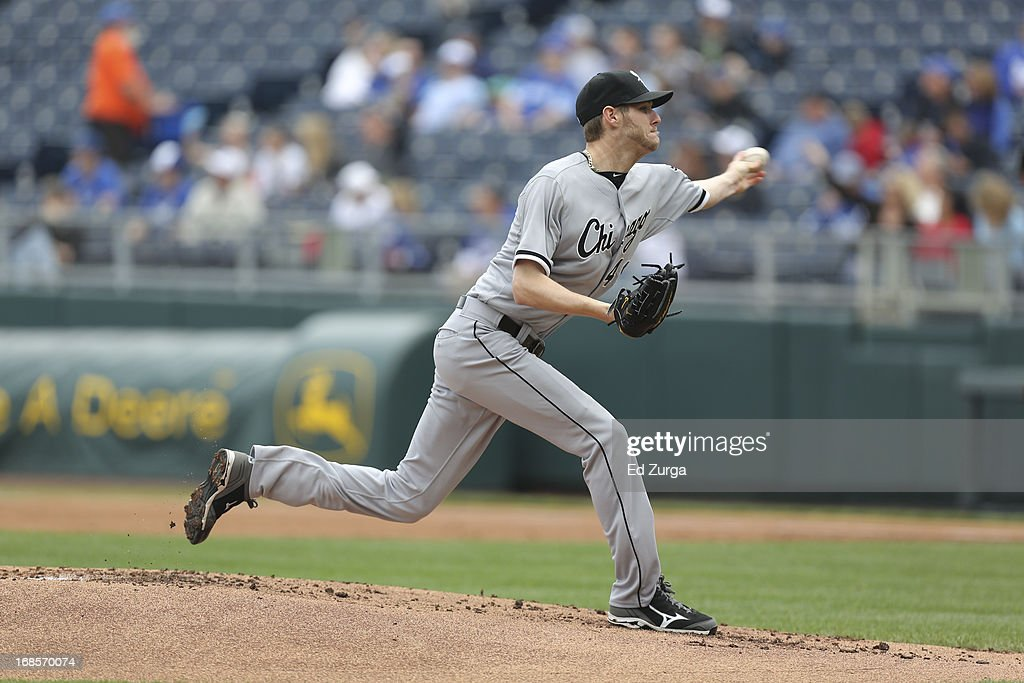 Chris Sale #49 of the Chicago White Sox throws against the Kansas City Royals at Kauffman Stadium on May 6, 2013 in Kansas City, Missouri.