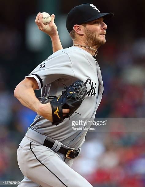 Chris Sale of the Chicago White Sox throws against the Texas Rangers in the first inning at Globe Life Park in Arlington on June 3 2015 in Arlington...