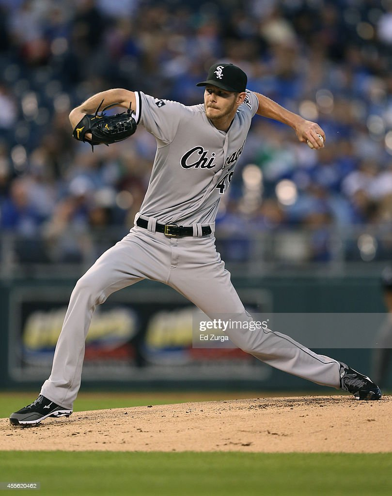 Chris Sale of the Chicago White Sox throws in the first inning during a game against the Kansas City Royals at Kauffman Stadium on September 17 2012...