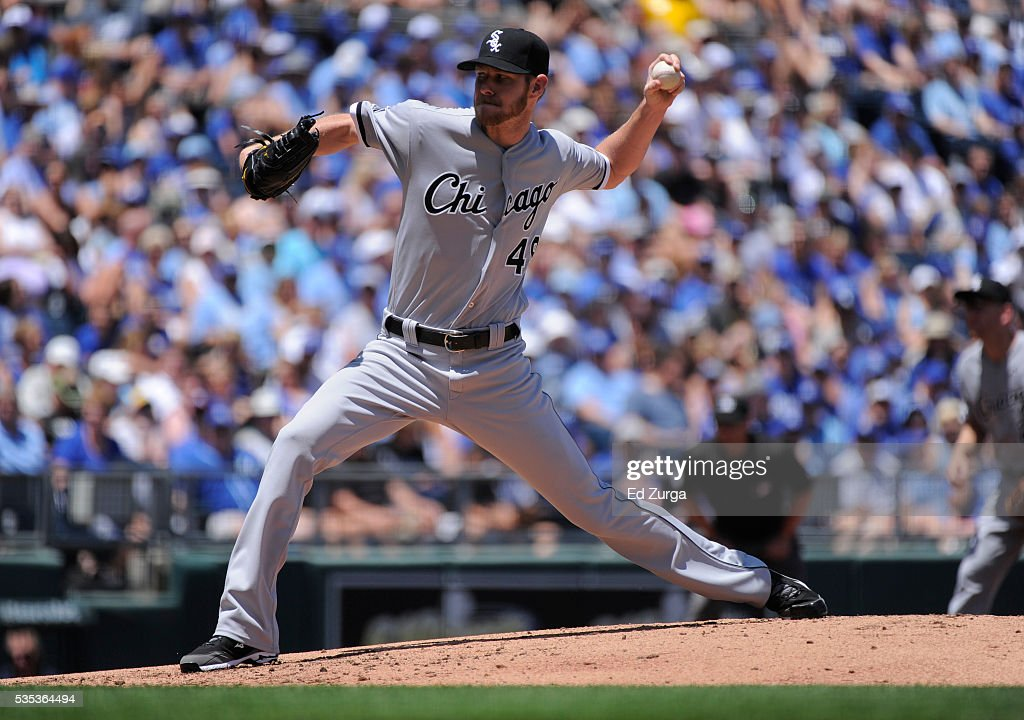 <a gi-track='captionPersonalityLinkClicked' href=/galleries/search?phrase=Chris+Sale&family=editorial&specificpeople=7132181 ng-click='$event.stopPropagation()'>Chris Sale</a> #49 of the Chicago White Sox throws in the first inning against the Kansas City Royals at Kauffman Stadium on May 29, 2016 in Kansas City, Missouri.