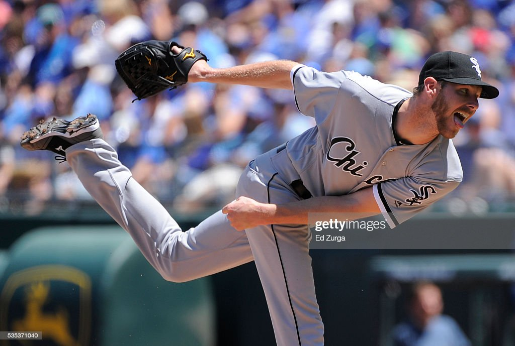 Chris Sale #49 of the Chicago White Sox throws in the fourth inning against the Kansas City Royals at Kauffman Stadium on May 29, 2016 in Kansas City, Missouri.