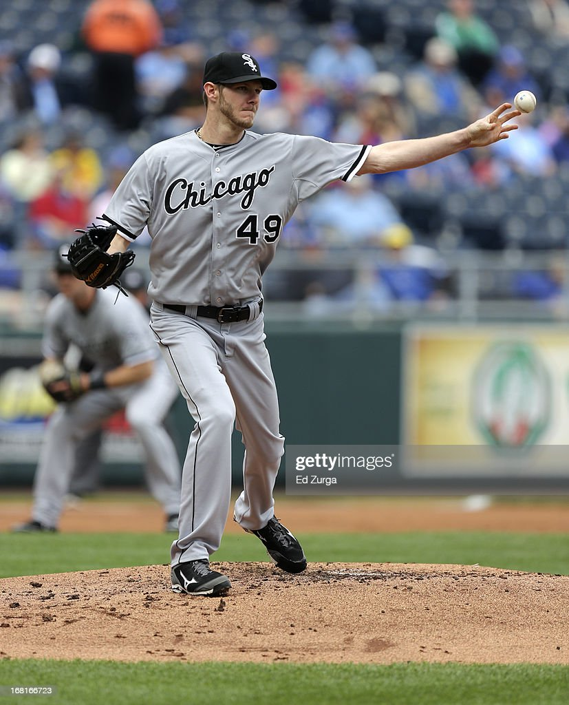 <a gi-track='captionPersonalityLinkClicked' href=/galleries/search?phrase=Chris+Sale&family=editorial&specificpeople=7132181 ng-click='$event.stopPropagation()'>Chris Sale</a> #49 of the Chicago White Sox throws to first on a pick off attempt on Alex Gordon of the Kansas City Royals in the first inning at Kauffman Stadium on May 6, 2013 in Kansas City, Missouri.