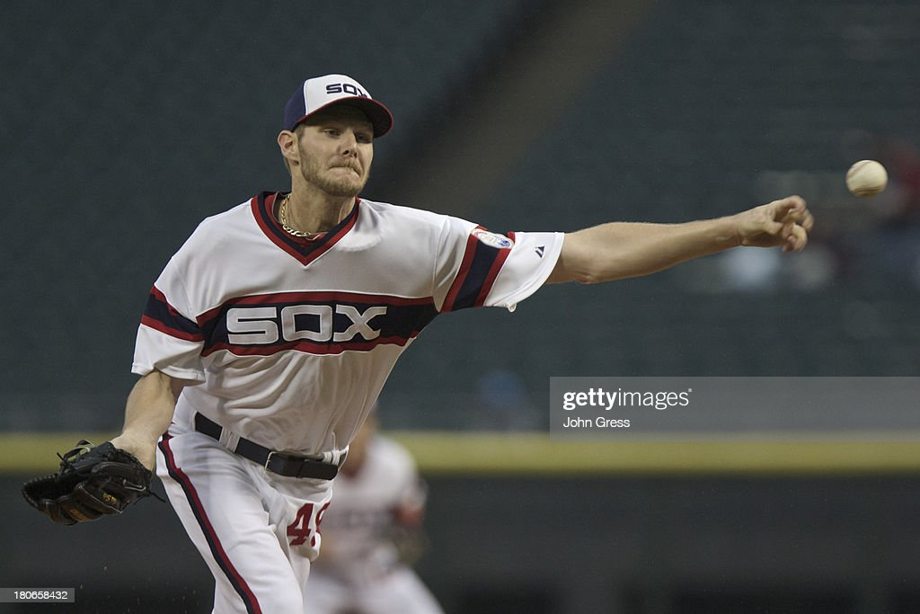 <a gi-track='captionPersonalityLinkClicked' href=/galleries/search?phrase=Chris+Sale&family=editorial&specificpeople=7132181 ng-click='$event.stopPropagation()'>Chris Sale</a> #49 of the Chicago White Sox throws to the Cleveland Indians during in the first inning of their MLB game at U.S. Cellular Field on September 15, 2013 in Chicago, Illinois.