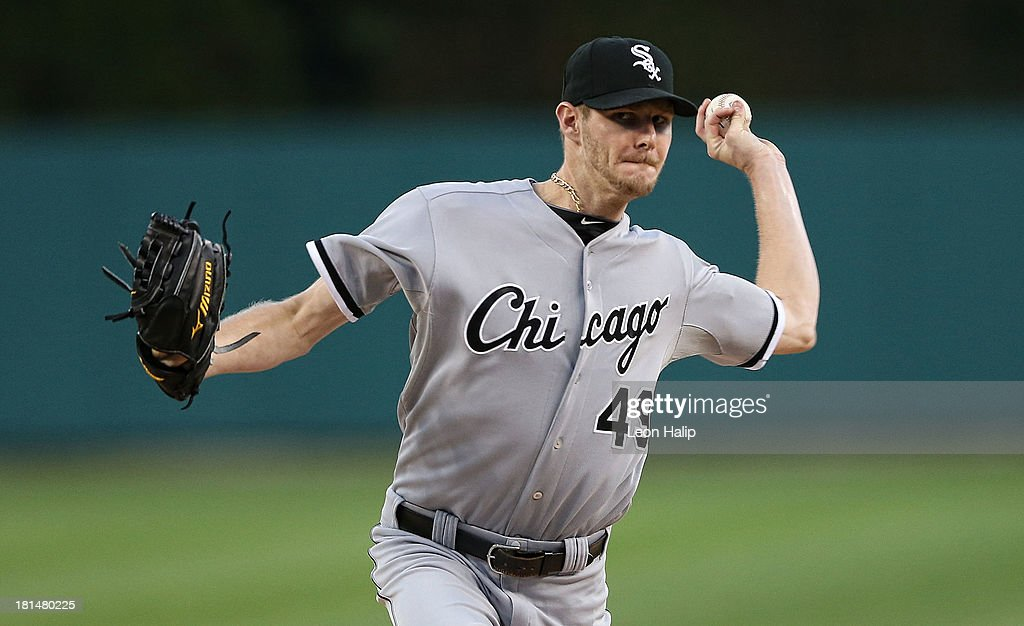 Chris Sale #49 of the Chicago White Sox warms up prior to the start of the game against the Detroit Tigers at Comerica Park on September 21, 2013 in Detroit, Michigan.