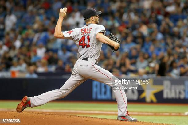 Chris Sale of the Red Sox delivers a pitch to the plate during the MLB regular season game between the Boston Red Sox and Tampa Bay Rays on August 8...